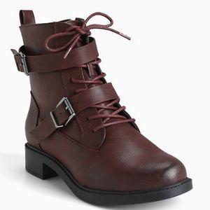 Torrid faux leather oxblood booties